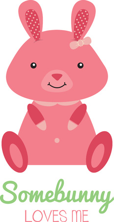 Cute pink Easter Bunny sitting up and smiling. Illustration