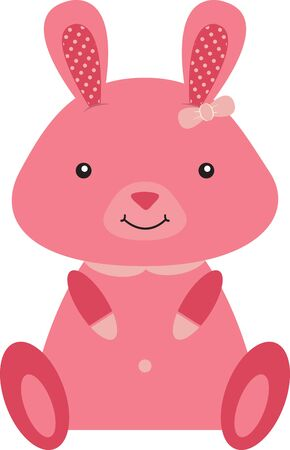 Cute pink Easter Bunny sitting up and smiling. Иллюстрация