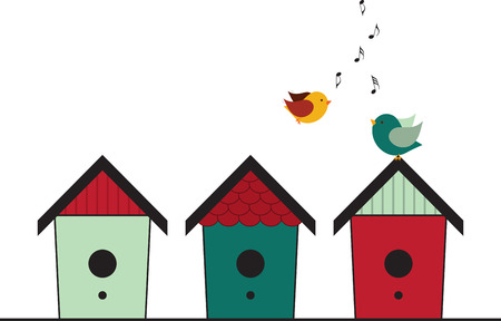 animal shelter: Happily singing birds flying and standing on their birdhouses.