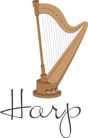 音楽愛好家とプレーヤーのための古典的なハープを立っています。