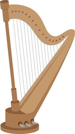 stringed: Standing classic harp for music aficionados and players. Illustration