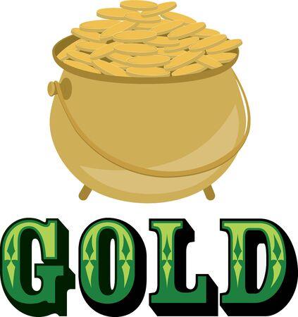 Leprechauns pot of gold for your Saint Patricks Day projects. Illusztráció