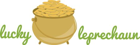 Leprechauns pot of gold for your Saint Patricks Day projects. Illustration