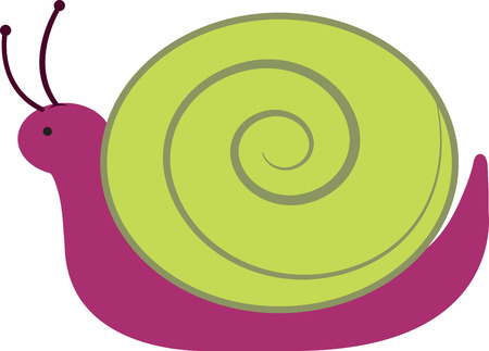 coiled: Cute purple and green snail for childrens items and projects.