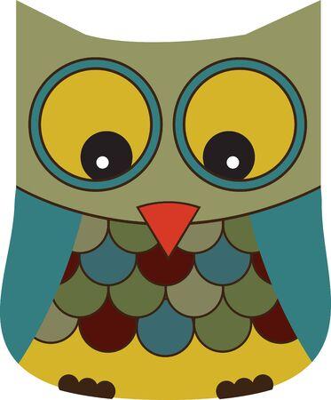 Leuke kleurrijke uil voor artikelen en projecten voor kinderen. Stock Illustratie