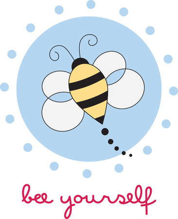 yellow jacket: Cute buzzing bee for childrens items and projects. Illustration