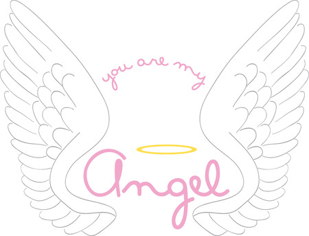 encouragement: Angel wings and halo for religious, children and encouragement projects. Illustration
