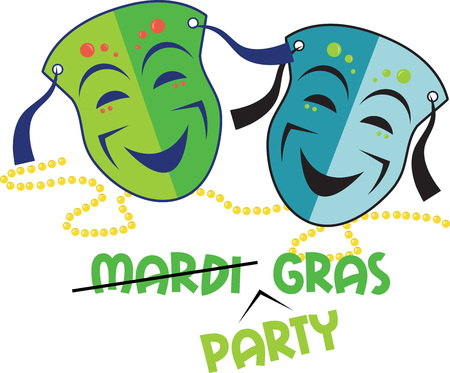 necklaces: Happy party masks and beaded necklaces for Mardi Gras celebrations. Illustration