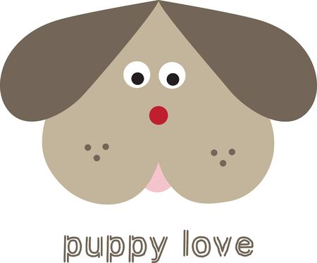 head for: Cute puppy dog head for childrens items and projects. Illustration