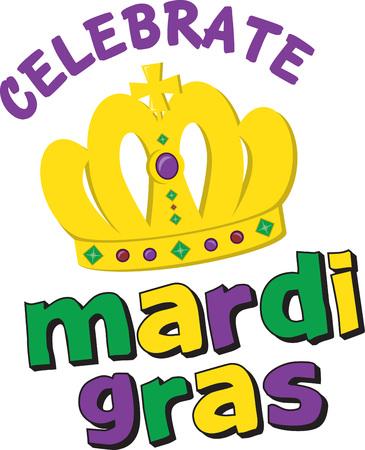 Golden for Mardi Gras crown for festive celebrations.