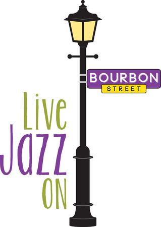 Signe Bourbon Street et lampadaire pour Mardi Gras amusant. Banque d'images - 42306718