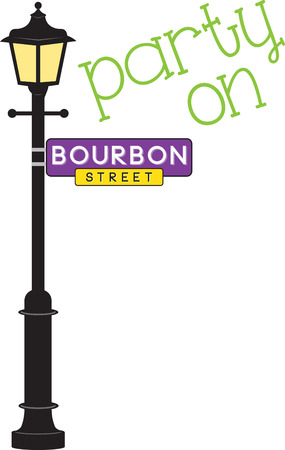 street sign: Bourbon Street sign and lamp post for Mardi Gras fun.
