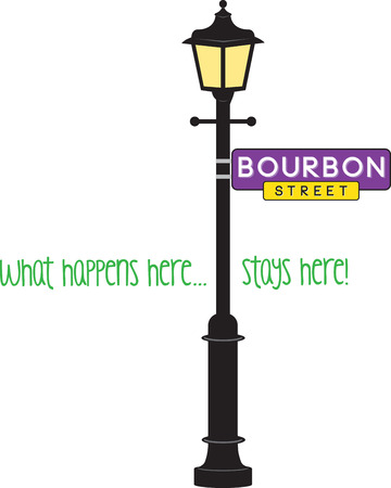 Bourbon Street sign and lamp post for Mardi Gras fun.