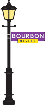 sign post: Bourbon Street sign and lamp post for Mardi Gras fun.