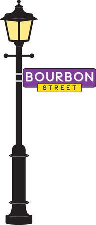 Bourbon Street sign and lamp post for Mardi Gras fun.