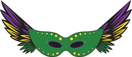 Feathered party masque for Mardi Gras celebrations. Illusztráció