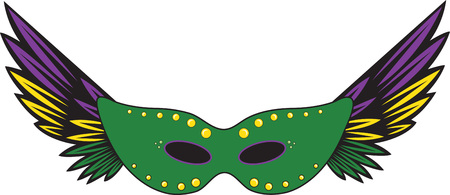 masque: Feathered party masque for Mardi Gras celebrations. Illustration