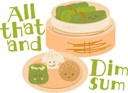 dim sum: Cute faces on Chinese Dim Sum with a bamboo steamer. Illustration