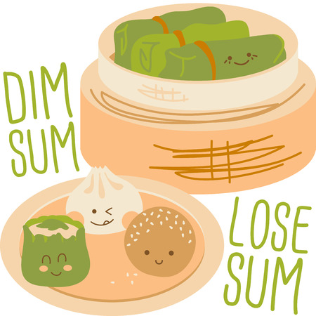 Cute faces on Chinese Dim Sum with a bamboo steamer. Illustration