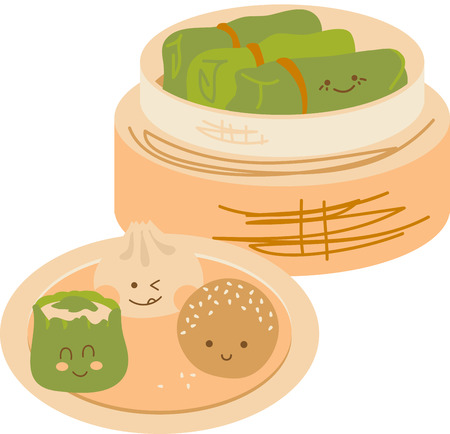 Cute faces on Chinese Dim Sum with a bamboo steamer.  イラスト・ベクター素材