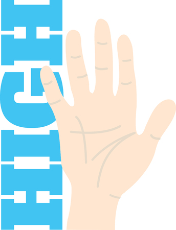 here's: Heres a high five to add a touch of fun for your embroidery project.  Use it on shirts or jackets and add the name below for that personal touch.
