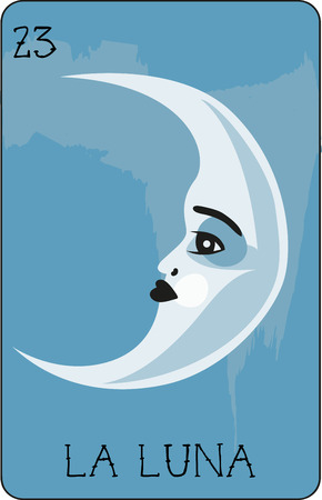 luna: Our colorful collection of loteria cards features the entire collection of all the famous characters.  This is card 23 of the set featuring La Luna.