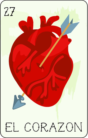 corazon: Our colorful collection of loteria cards features the entire collection of all the famous characters.  This is card 27 of the set featuring El Corazon, the heart. Illustration