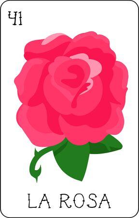 우리의 다채로운 로또 리 카드 모음에는 모든 유명한 캐릭터의 전체 컬렉션이 있습니다. 이것은 아름다운 장미 인 La Rosa를 특징으로하는 카드 41입니다 일러스트