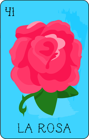 Our colorful collection of loteria cards features the entire collection of all the famous characters.  This is card 41 of the set featuring La Rosa, the beautiful rose.