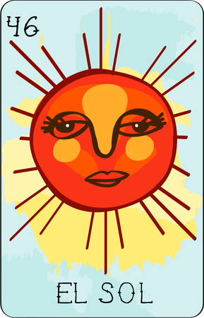 sol: Our colorful collection of loteria cards features the entire collection of all the famous characters.  This is card 46 of the set featuring El Sol.