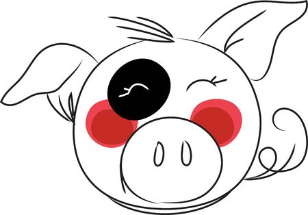 Pig head is a zodiac sign in Chinese tradition Çizim