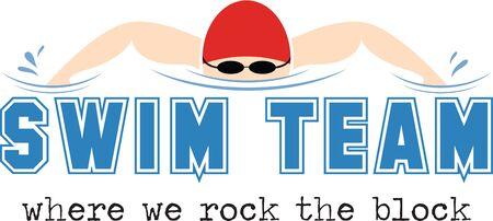 Stitch uit dit aantrekkelijke grafische op overhemden voor het zwemteam. Maak uw team opvallen!