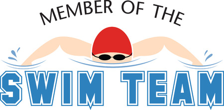 swim cap: Stitch out this attractive graphic on shirts for the swim team.  Make your team stand out!