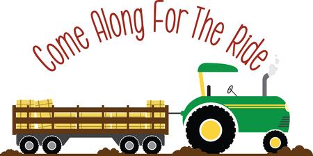 楽しんで: Have fun on this tractor hayride to your pumpkin patch project.  イラスト・ベクター素材