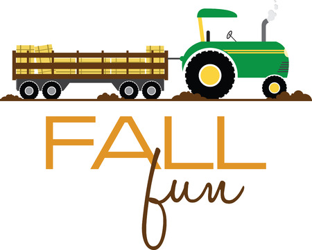 Have fun on this tractor hayride to your pumpkin patch project.  イラスト・ベクター素材