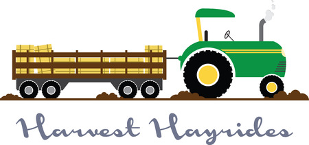 hayride: Have fun on this tractor hayride to your pumpkin patch project. Illustration