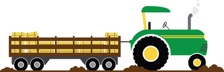 fall harvest: Have fun on this tractor hayride to your pumpkin patch project. Illustration