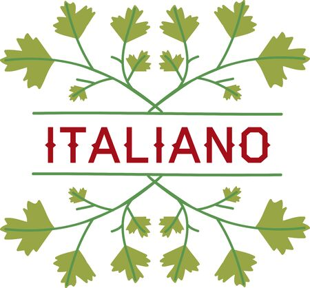 italian kitchen: Use this blank caption with Italian parsley to use in your kitchen. Illustration