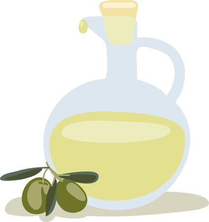 botella de aceite de oliva: Esta botella de aceite de oliva italiano se ver�a muy bien en su cocina. Vectores