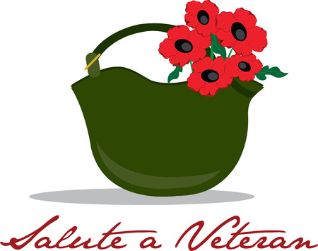 Remember the veterans with this combat helmet and poppies design in your Veterans Day project. Иллюстрация