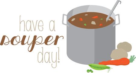 Köche mögen ein köstliches Topf Suppe auf einem Schutzblech oder Küchentuch. Standard-Bild - 42307077
