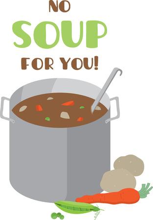 Köche mögen ein köstliches Topf Suppe auf einem Schutzblech oder Küchentuch. Standard-Bild - 42307079