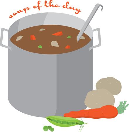 요리사는 앞치마 또는 주방 수건에 수프의 맛 냄비 같은 것입니다.