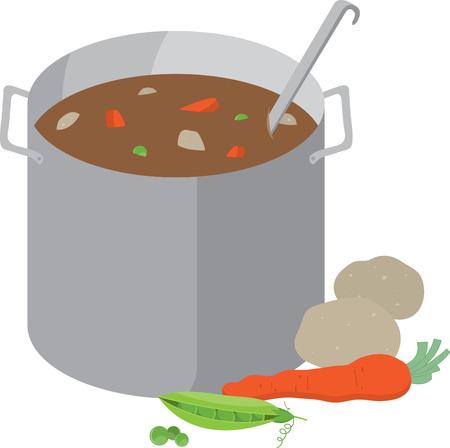 Köche mögen ein köstliches Topf Suppe auf einem Schutzblech oder Küchentuch. Standard-Bild - 42307083