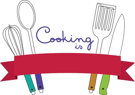 Cooks will like a set of utensils on an apron or kitchen towel.