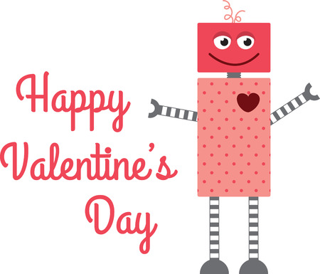 Geeks potranno apprezzare un grande robot invio di un San Valentino. Archivio Fotografico - 42307088