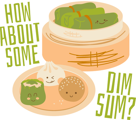 Cute faces on Chinese Dim Sum with a bamboo steamer. Ilustrace