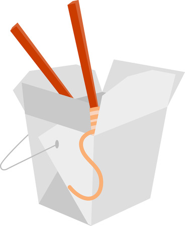take out: Take out box of Chinese noodles with chopsticks. Illustration