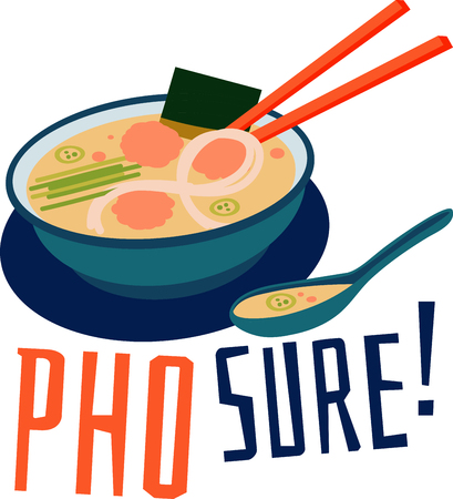 soup spoon: Bowl of Vietnamese Pho soup with chopsticks and spoon.