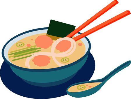 젓가락과 숟가락 베트남어 포 수프 그릇입니다. 일러스트